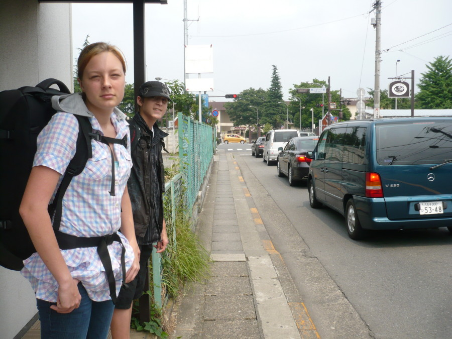 Katie hiking to the train station in Fussa, Japan