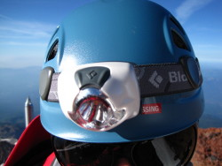 BD Spot headlamp on Petzl Elios helmet