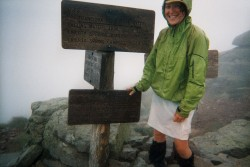 Enjoying the horizontal rain on Franconia Ridge...