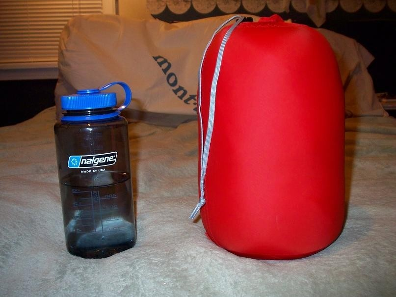 stuff sack included....next to a 1L Nalagene, a compression sack will make this much smaller...
