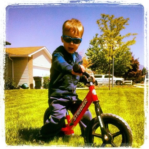 Dylan lookin' fly on his Strider Bike