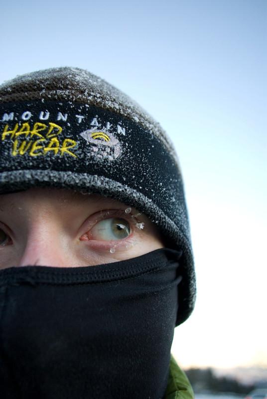 frozen eyelashes, warm noggin.