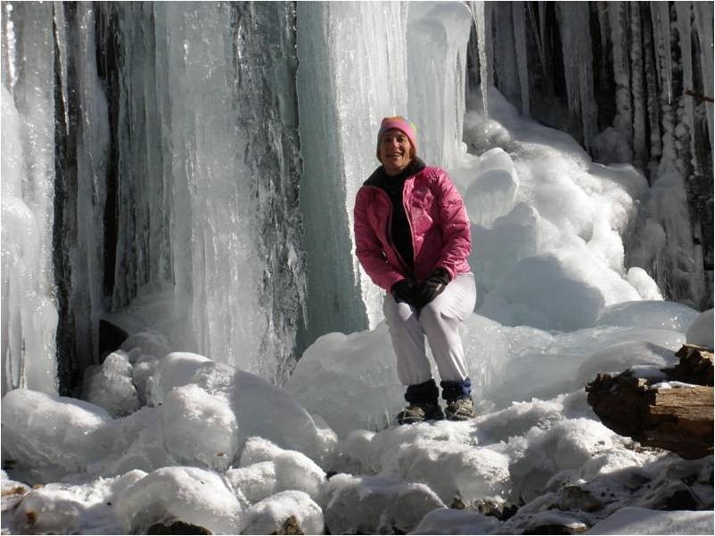 at the ice waterfall