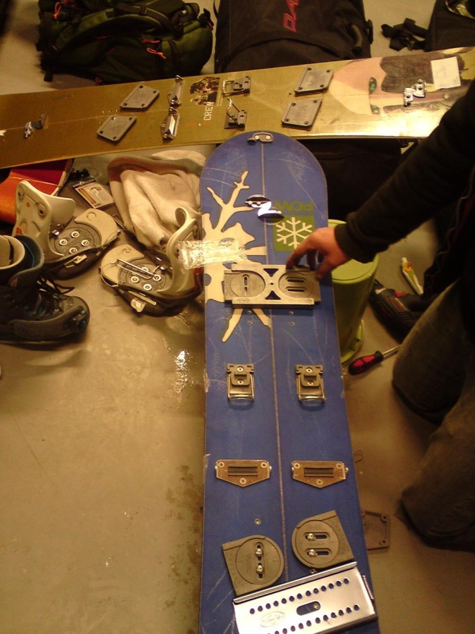 Burton S-Series bindings on Venture Euphoria and on second plan Split decision kit mounted on home cuted snowboard