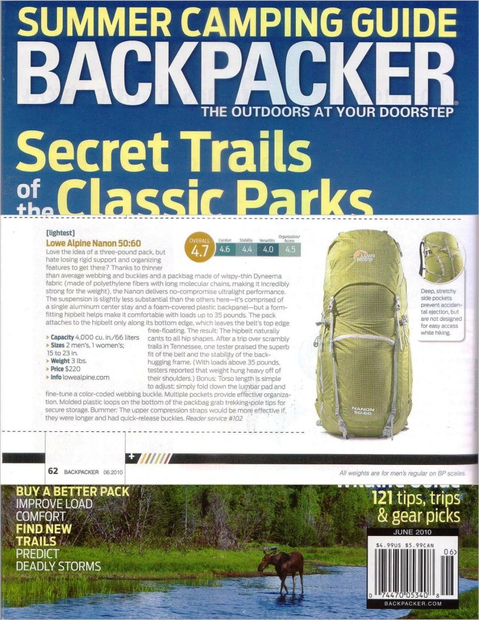 Highly rated in Backpacker Mag June 2010 issue