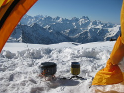 Jetboil Helios Stove in the Caucasus Mountains