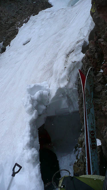 shelter under cornice at ebbett's pass