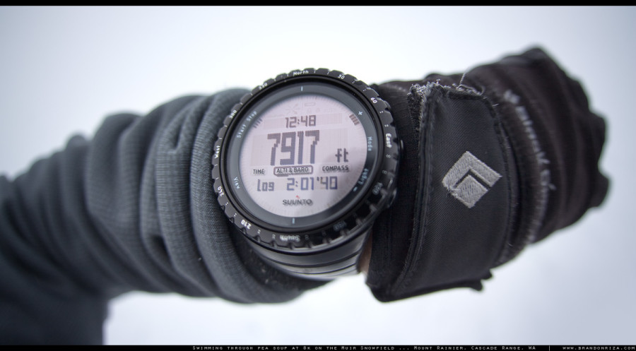 The Suunto CORE in the clouds on the Muir Snowfield...
