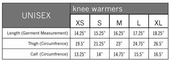 Size Chart for Pearl Izumi Knee Warmers