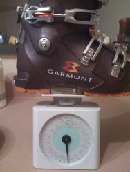 Garmont Radium 25.5 weighs 3 lbs 10 oz each boot