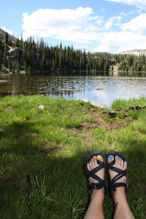 my chacos in the mountains.