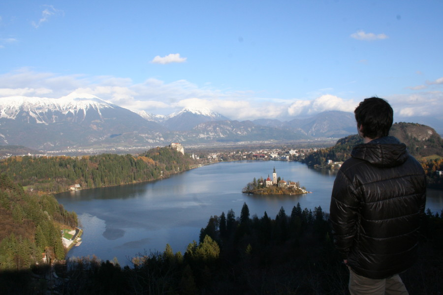 Keeping me warm in Bled, Slovenia