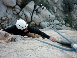 Connor tied in to the Supersafe on Sail Away Joshua Tree NP