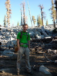 "Backpacking to Maggie Lakes in the Catalyst ""Tree Frog"" a bright green"