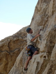 Leading in the Stoic Overhang - Joshua Tree NP
