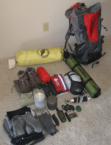 Gear & bag before packing