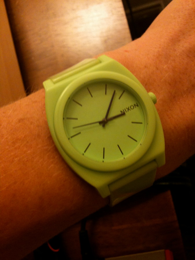 time teller p lime green