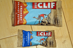 A regular Clifbar next to a mini Clifbar