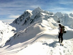 Back country skiing near Mount Baker