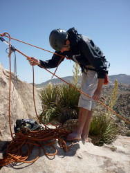 Belaying off the anchor with the ATC Guide. Bird on a Wire, Joshua Tree NP