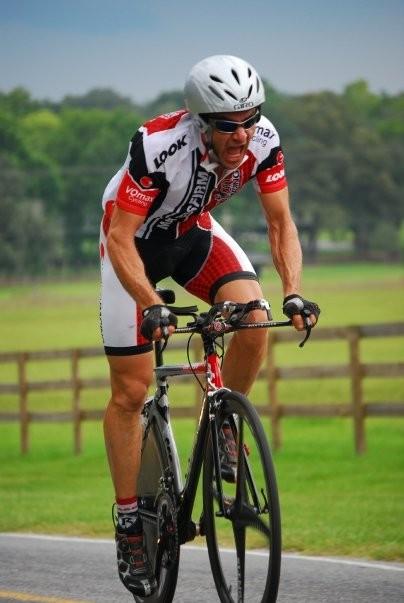 Karl in the pain cave wearing his Giro TT helmet