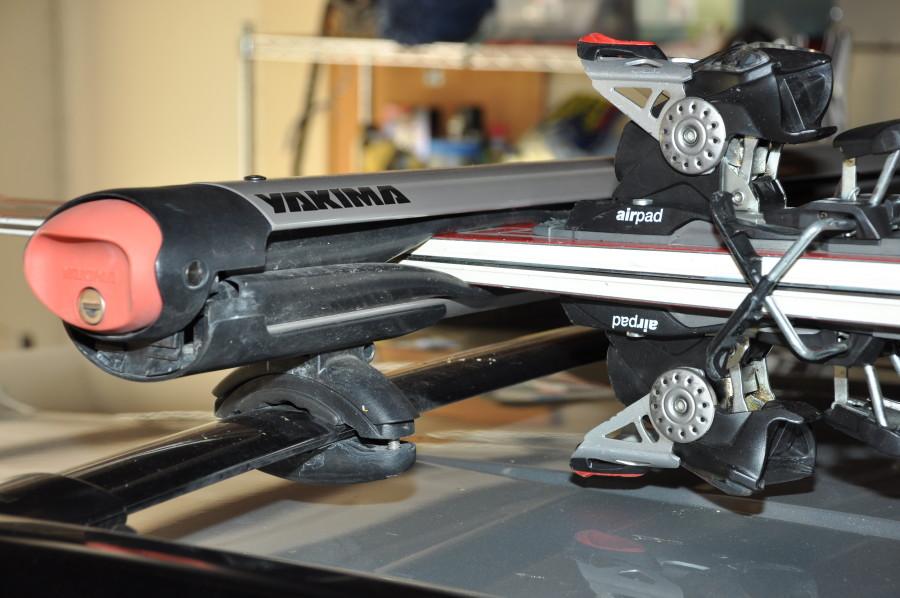skis mounted