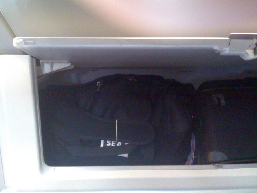 North Face Duffel (S) in overhead compartment