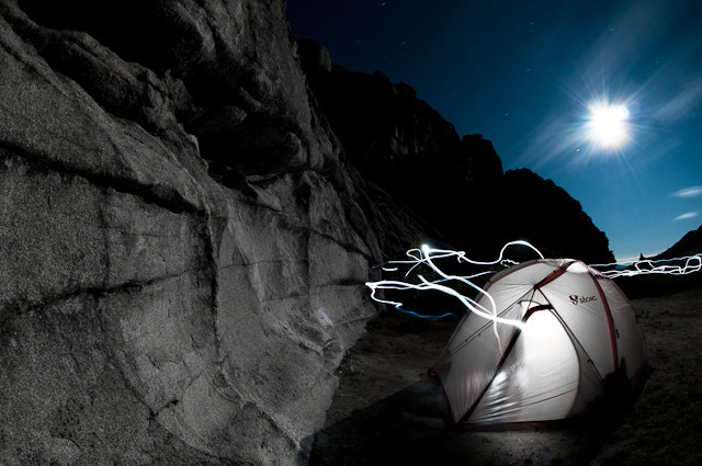 ARX tent in city of rocks, midnight moon