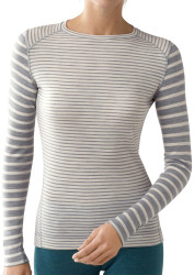 Silver gray heather stripe on model