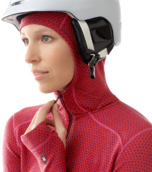 Model wearing helmet with hood up