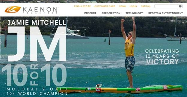 Jamie Mitchell - 10x world champion Molokai 2 Oahu -wears Kaenon Hard Kore