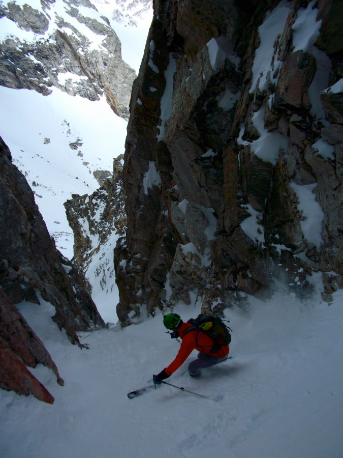 Skiing in the East Hourglass Couloir, Teton Range