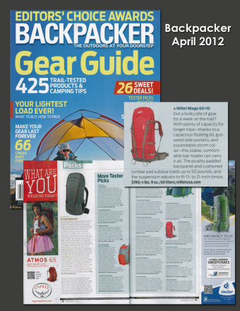 Millet Miage Selected for Backpacker's Gear Guide