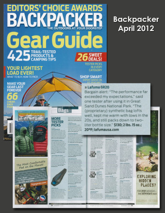 Lafuma GR 20 in Backpacker's April 2012 Gear Guide