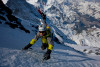 Stian Hagen on West face of the Eiger in the BD Tracer