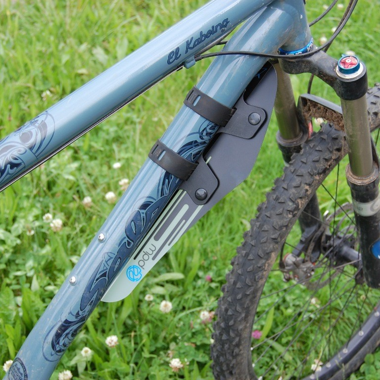 Origami front fender on mountain bike.