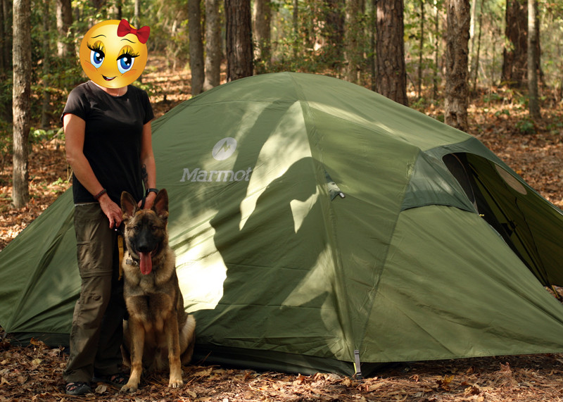 My wife and the pup camping in Alabama