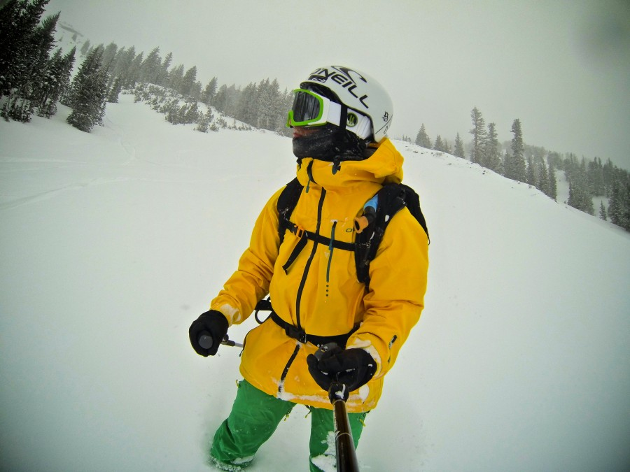 Early Season Powder. Lightweight helmet.