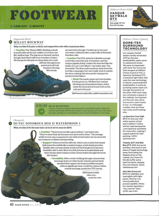 Rockway selected in Backpacker Magazine