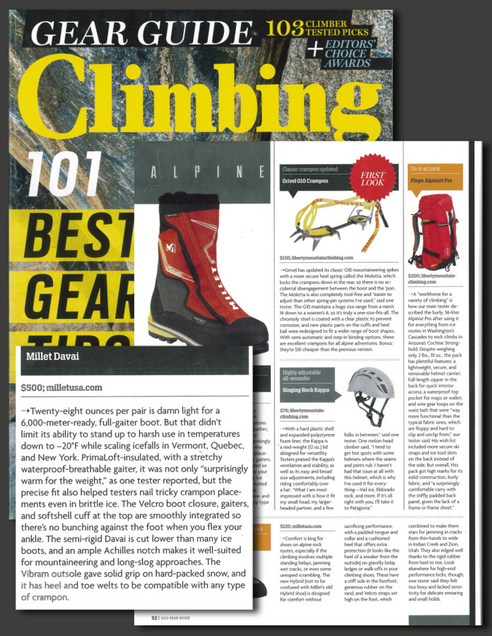 Millet Davai selected in Climbing Mag