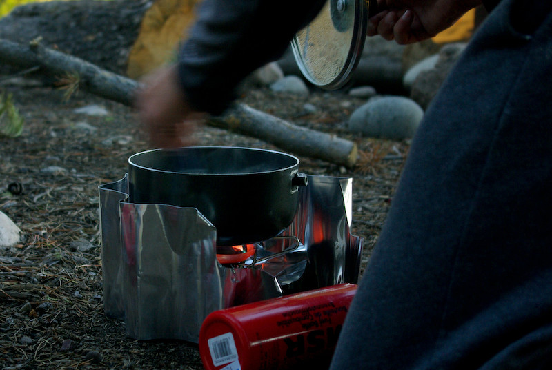 Cooking dinner on the WhisperLite