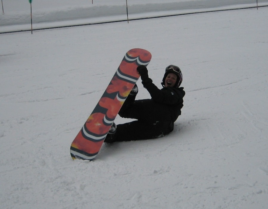 Doing a grab on my new Burton Feelgood V-Rocker
