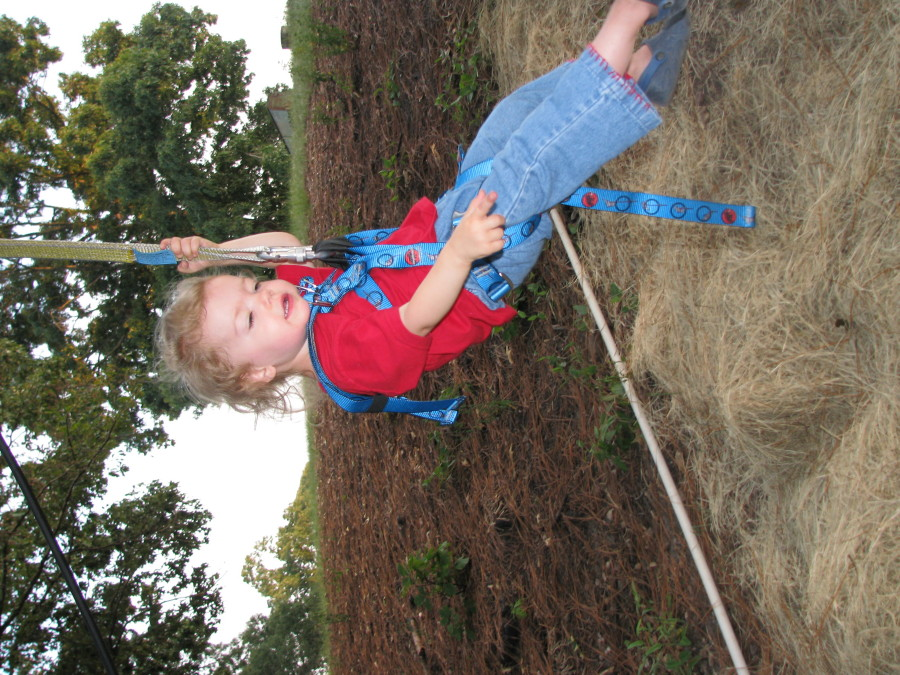 2 year old on zip line