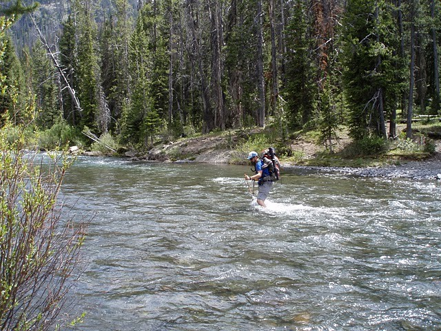 Crossing the Yellowstone River at Woodard Canyon - Teton Wilderness, WY