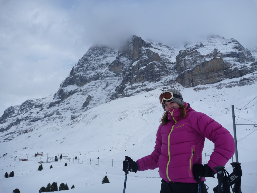 skiing below the eiger