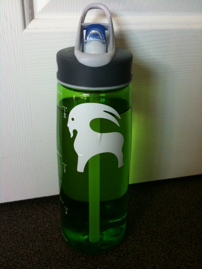 Lime Better Bottle graced by goat sticker!