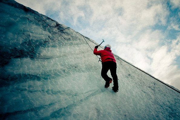 Ice climbing on M?rdalsj?kull Glacier