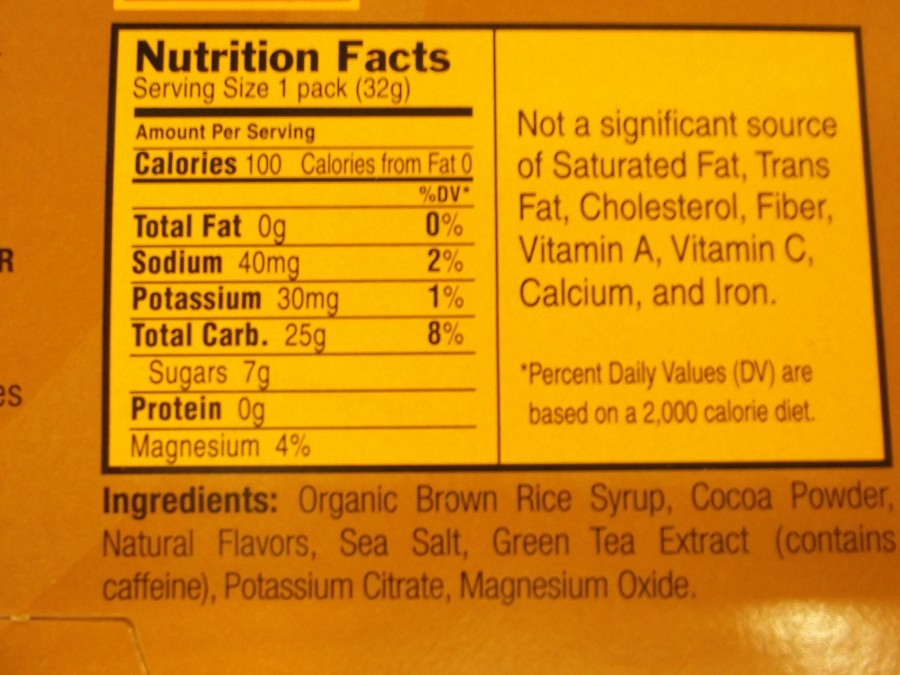 Nutrition Facts-Mocha