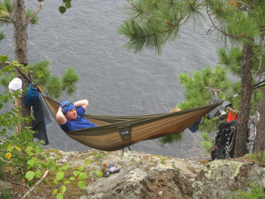 hanging out over russell lake in the quetico  eagles nest outfitters onelink hammock shelter system      rh   backcountry