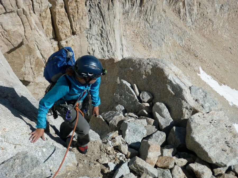 Taylor on the East Buttress of Mt. Whitney in the Trail Wind